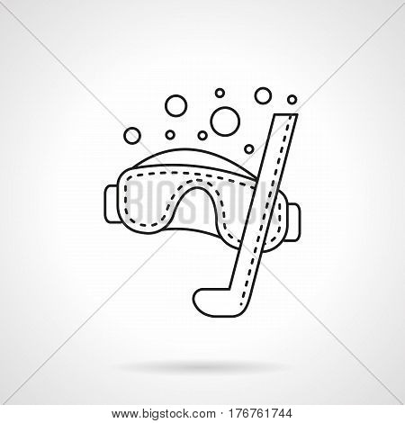 Symbol of diving mask with snorkel and bubbles. Snorkeling equipment and accessory for summer underwater swimming. Flat black line vector icon.