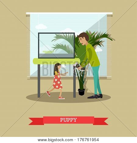 Vector illustration of man buying a puppy for her daughter. Pet shop interior, happy kid and happy father flat style design elements.