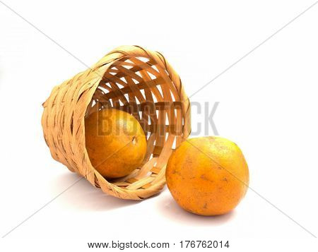 Basket of oranges on a white background