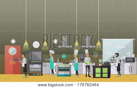 Restaurant cook vector illustration. Cooks males preparing food, waiters getting ready meals, kitchen room interior flat style design elements.