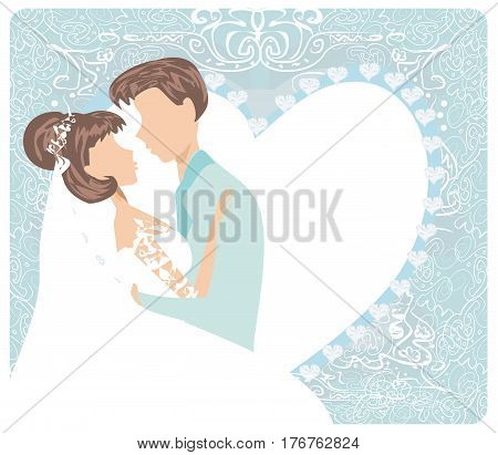 wedding couple - Stylish invitation card , vector illustration