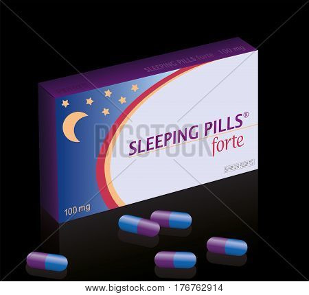Sleeping pills box - medical fake product package. Isolated vector illustration on black background.