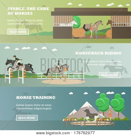 Vector set of riding horizontal banners. Stable. The care of horses, Horseback riding and Horse training flat style design elements.