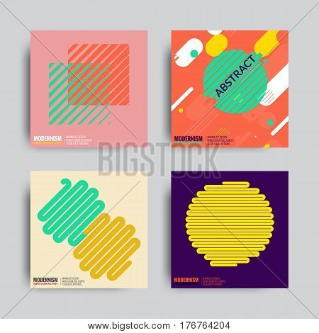 Art Geometric Shape Logo Design in Retro Swiss Style. Colorful Abstract Posters Set