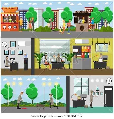 Vector set of detective posters, banners. Private detective, enquiry agent working at office and outside flat style design elements.