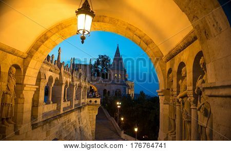 BUDAPESHT, HUNGARY- JULY 07: Ancient romanesque Fisherman's Bastion's arch in Hungary, old piece of architecture taken late at night on july 07, 2015 in Hungary