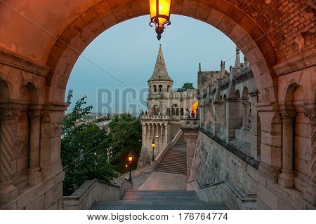 BUDAPESHT, HUNGARY- JULY 07: Famous gothic Fisherman's Bastion in Budapest, a tourist attraction in the evening on july 07, 2015 in Hungary