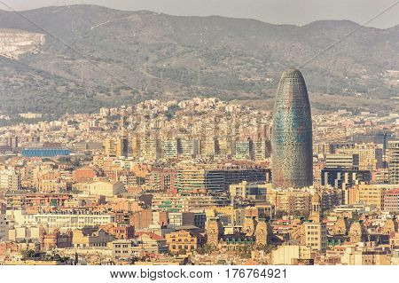 BARCELONA, SPAIN, September 19: Scenic aerial view of the Agbar Tower in Barcelona in Spain in 2008