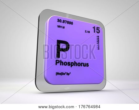 phosphorus - P - chemical element periodic table 3d render