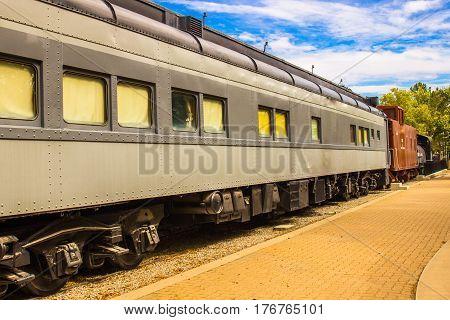 Vintage Railroad Passenger Car & Caboose On Side Tracks