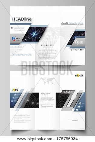 Tri-fold brochure business templates on both sides. Easy editable abstract vector layout in flat design. Sacred geometry, glowing geometrical ornament. Mystical background