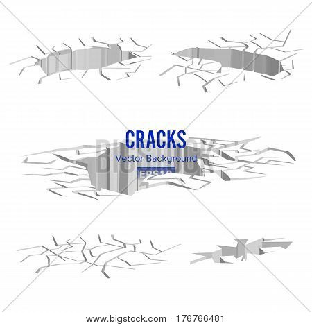 Cracks In The Ground Vector. Split After Earthquake