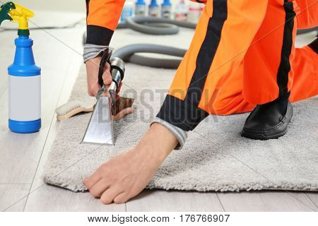 Dry cleaner's employee removing dirt from carpet in flat, closeup