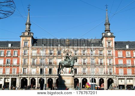 People Visiting Architecture On The Plaza Mayor, Madrid