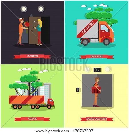 Vector set of delivery posters. Courier, Delivery, Truck and Home delivery flat style design elements.