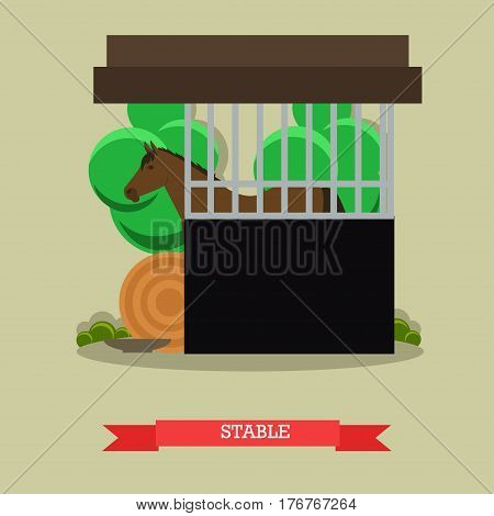 Vector illustration of stable or horse breeding farm with chestnut horse and haystack. Flat style design element.