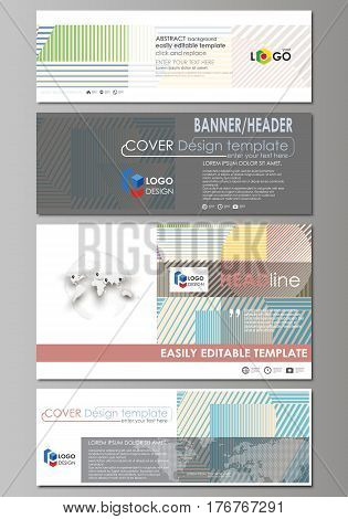 Social media and email headers set, modern banners. Business templates. Easy editable abstract design template, vector layouts in popular sizes. Minimalistic design with lines, geometric shapes forming beautiful background.