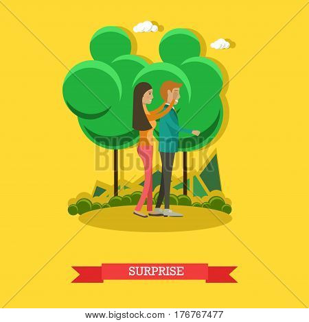 Vector illustration of happy girl covering boyfriend eyes with her hands. Surprise concept flat style design element.