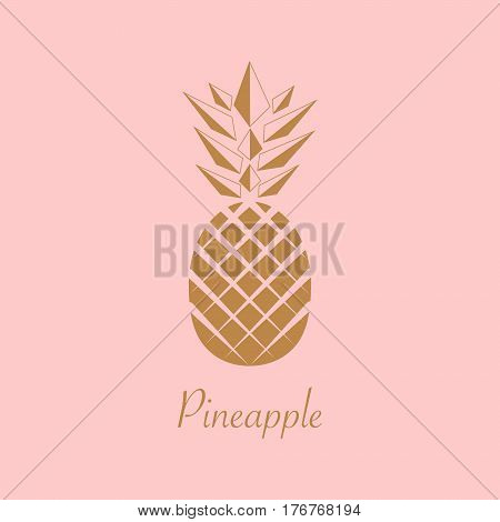 Gold foil Pineapple design. Summer fruit trendy illustration. Pineapple isolated on pink background. Poster pattern. Tropical fruit. Vector.