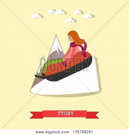 Vector illustration of young woman enjoying the ride on inner tube. Snow tubing, winter fun flat style design element.