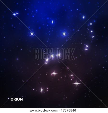 Orion constellation in the night starry sky. Vector illustration
