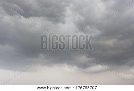 The black dark rainy clouds in the sky