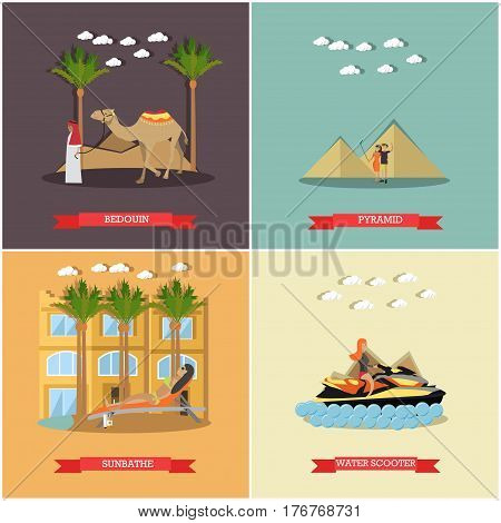 Vector set of vacation in Egypt concept posters, banners. Bedouin, Pyramid, Sunbathe and Water scooter flat style design elements.