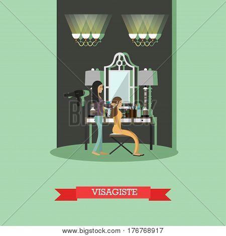 Vector illustration of makeup artist female preparing model for fashion show. Visagist concept design element in flat style