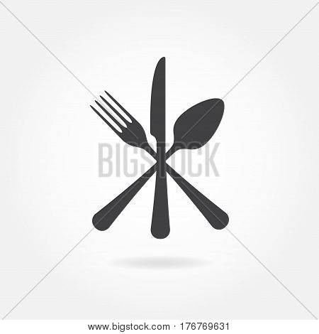 Spoon Fork and Knife icon. Crossed symbol. Flat Vector illustration.