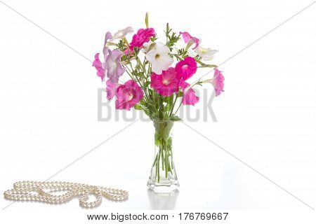 Bouquet of pink petunias in a vase on a white background and a pearl necklace.