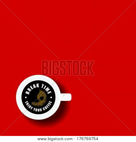 Coffee Break Icon On Red Background Illustration