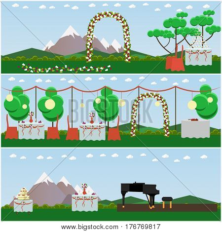 Vector set of outdoors wedding scenery posters, banners. Decorated wedding arch, tables and big cake with three tiers, piano for musicians flat style design elements.