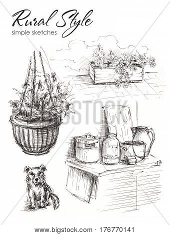 Several sketches of objects from rural life. Dog, flower pot with flowers, a wooden table with metal pot, glass jar, ceramic pot for milk adn other objects.