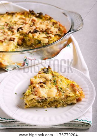Cabbage and chicken gratin sliced on plate