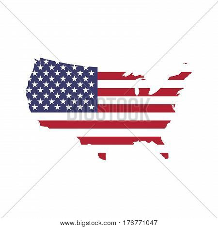 USA flag in a shape of US map silhouette. United States of America symbol. EPS10 vector illustration.