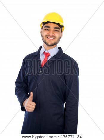 Young worker thumbs up - isolated on white