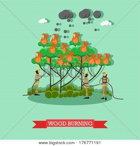 Vector illustration of firefighters in protective clothing and helmets extinguishing blaze with water hose. Wood burning design element in flat style.
