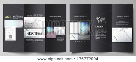 Tri-fold brochure business templates on both sides. Easy editable abstract vector layout in flat design. Compounds lines and dots. Big data visualization in minimal style. Graphic communication background.