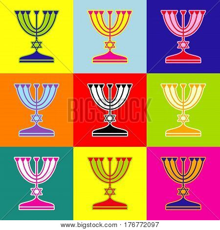Jewish Menorah candlestick in black silhouette. Vector. Pop-art style colorful icons set with 3 colors.