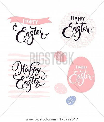 Happy Easter. Collection of gorgeous hand lettering, calligraphic and hand drawn decorative elements in pink color. Vector illustration for greeting card, party invitation, banner, postcard, flyer.