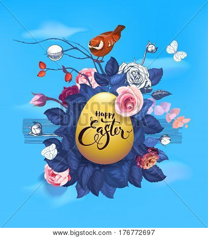 Golden Easter egg, text handwritten with calligraphic font, bunch of semi-colored flowers and little bird sitting on top of it against blue sky and white clouds on background. Vector illustration.