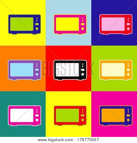 Microwave sign illustration. Vector. Pop-art style colorful icons set with 3 colors.