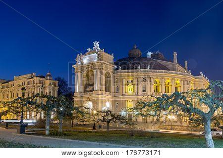 Odessa Opera and Ballet Theater in the heart of Odessa Ukraine at night