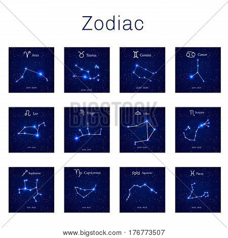 Zodiac constellations -  Leo, Virgo, Scorpio, Libra, Aquarius, Sagitarius Pisces Capricorn Taurus Aries Gemini Cancer Vector illustration