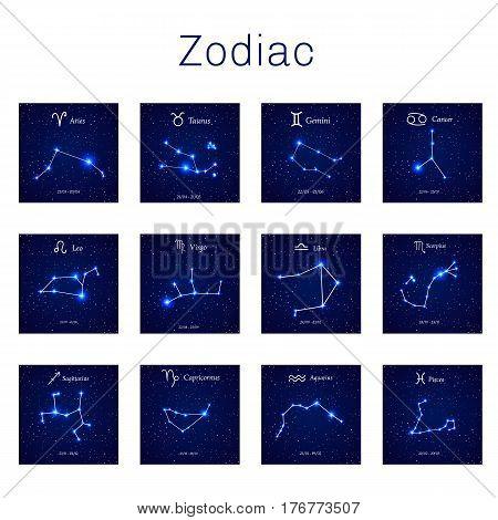 Zodiac constellations -  Leo, Virgo, Scorpio, Libra, Aquarius, Sagitarius Pisces Capricorn Taurus Aries Gemini Cancer Vector illustration