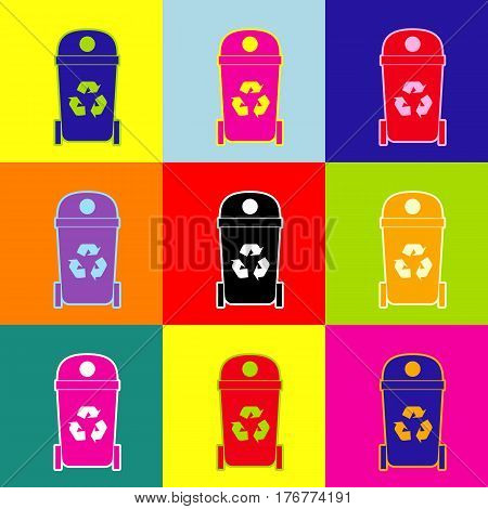 Trashcan sign illustration. Vector. Pop-art style colorful icons set with 3 colors.
