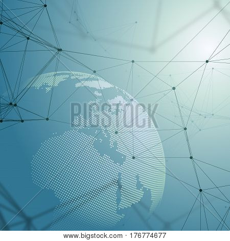 Abstract futuristic network shapes. High tech background with connecting lines and dots, polygonal linear texture. World globe on blue. Global network connections, geometric design, dig data technology digital concept.