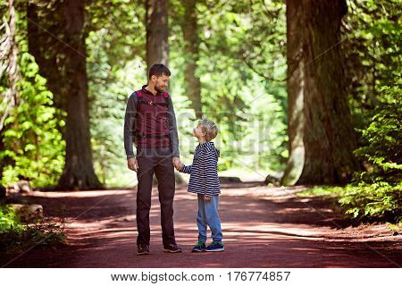 family of two father and son hiking in the forest in glacier national park washington usa
