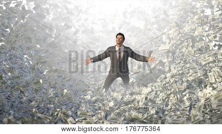 businessman in a money avalanche, 3d illustration