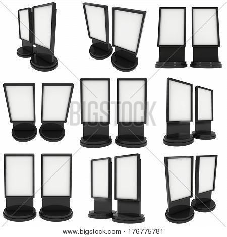 LCD Screen Stand Set. Black Trade Show Booth. 3d render of lcd screen isolated on white background. High Resolution. Ad template for your expo design.